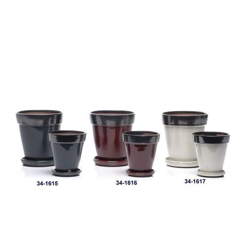 Expert Petits Pots w/ attached saucer, Black - Set of 2 (Min 4 sets)