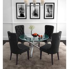 Solara II/Rizzo 5pc Dining Set, Chrome/Black