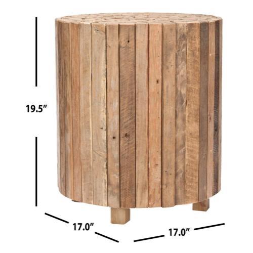 Richmond Rustic Wood Block Round End Table - Medium Oak