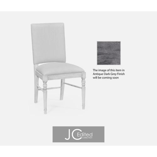 Antique dark grey upholstered side chair