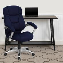 View Product - High Back Navy Blue Microfiber Contemporary Executive Swivel Ergonomic Office Chair with Arms