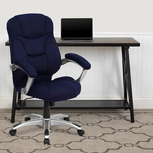 Gallery - High Back Navy Blue Microfiber Contemporary Executive Swivel Ergonomic Office Chair with Arms