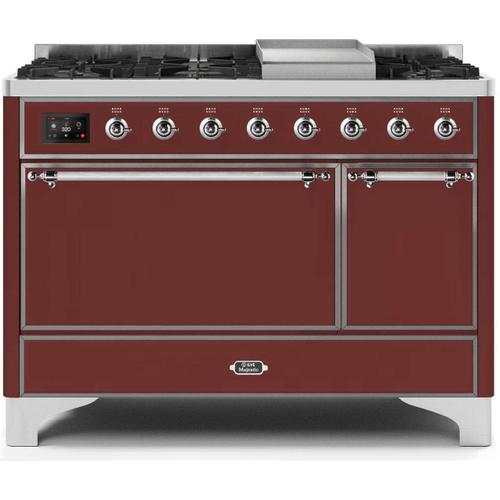 Gallery - Majestic II 48 Inch Dual Fuel Natural Gas Freestanding Range in Burgundy with Chrome Trim