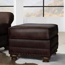 Leinster Faux Leather Upholstered Nailhead Ottoman in Espresso