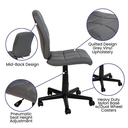 Gallery - Mid-Back Gray Quilted Vinyl Swivel Task Office Chair