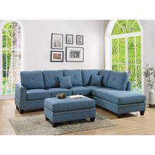 Iwan 2pc Sectional Sofa Set, Blue-cotton-blend