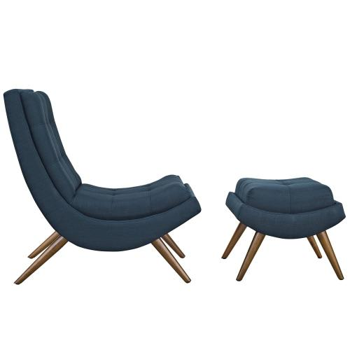 Ramp Upholstered Fabric Lounge Chair Set in Azure