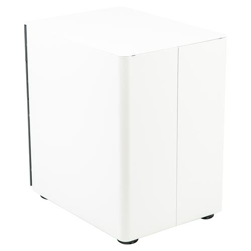 Modern 3-Drawer Mobile Locking Filing Cabinet with Anti-Tilt Mechanism & Letter/Legal Drawer, White with Charcoal Faceplate