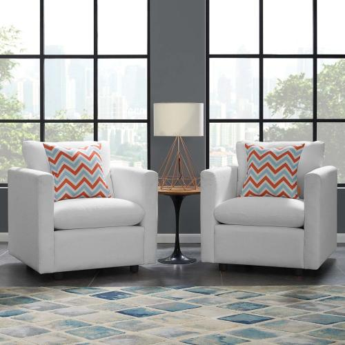 Activate Upholstered Fabric Armchair Set of 2 in White