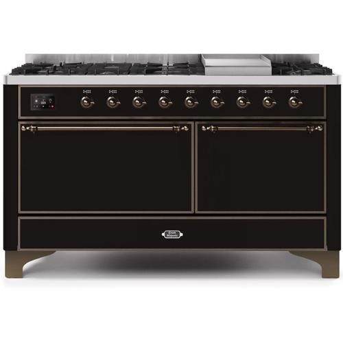 Majestic II 60 Inch Dual Fuel Natural Gas Freestanding Range in Glossy Black with Bronze Trim