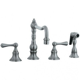 Highlands - 4 Hole Widespread Pillar Kitchen Faucet with Side Spray - Polished Nickel