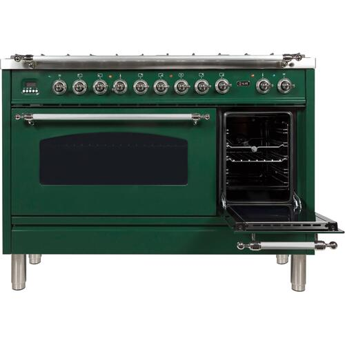 Nostalgie 48 Inch Dual Fuel Natural Gas Freestanding Range in Emerald Green with Chrome Trim