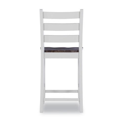 Ladder Back Counter Stool, Wire Brushed Oak and Silver Birch