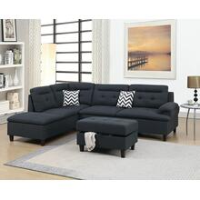Aerli 3pc Sectional Sofa Set, Black