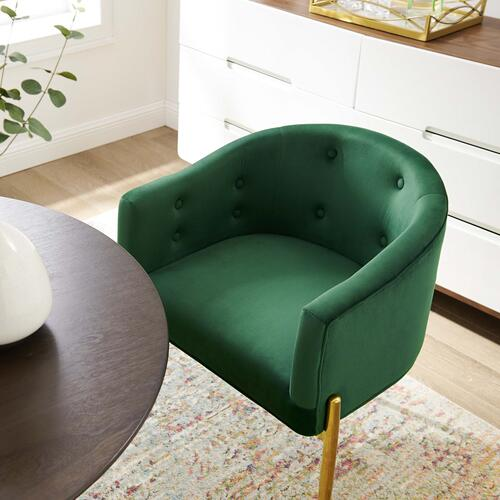 Savour Tufted Performance Velvet Accent Chairs - Set of 2 in Emerald