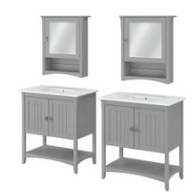 See Details - 64W Double Vanity Set with Sinks and Medicine Cabinets, Cape Cod Gray