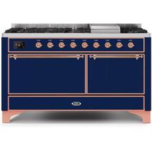 Majestic II 60 Inch Dual Fuel Natural Gas Freestanding Range in Blue with Copper Trim