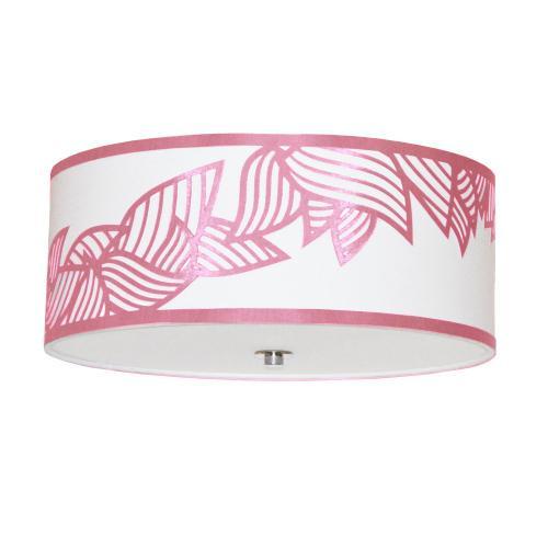 4lt Flush-mount Polished Chrome Pink & White Shade