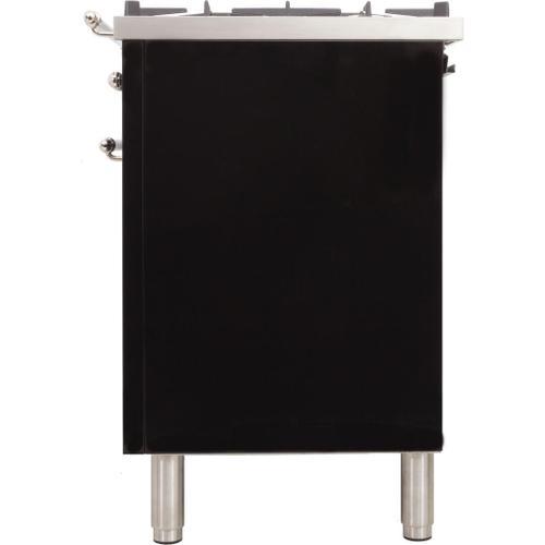 Nostalgie 30 Inch Dual Fuel Liquid Propane Freestanding Range in Glossy Black with Chrome Trim