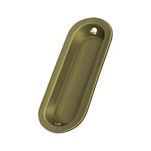 "Flush Pull, Oblong, 3-1/2"" x 1-1/4"" x 3/8"" - Antique Brass"