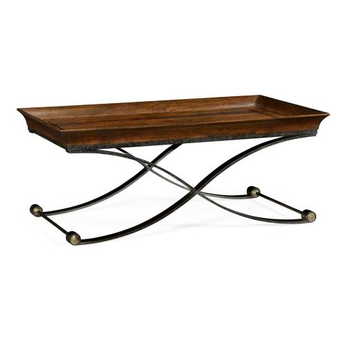 Brown mahogany coffee table with antique iron base