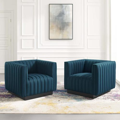 Conjure Tufted Armchair Upholstered Fabric Set of 2 in Azure