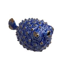 """View Product - Blue Ceramic Puffer Fish 8"""""""