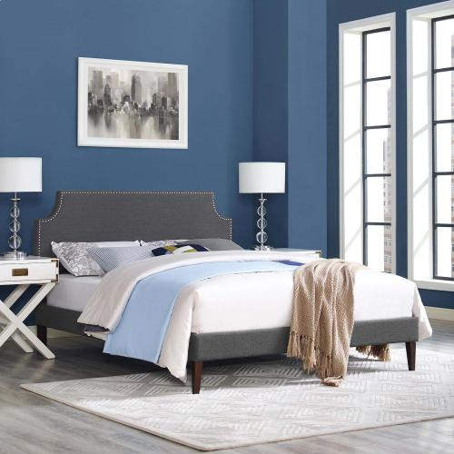 Corene King Fabric Platform Bed with Squared Tapered Legs in Gray