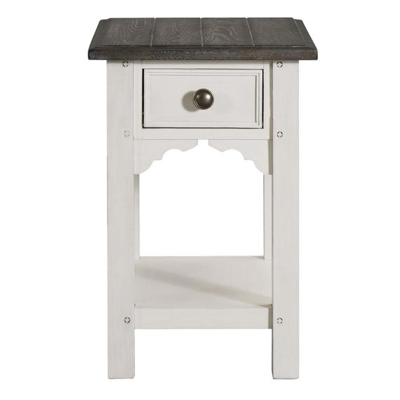 Riverside - Grand Haven - Chairside Table - Feathered White/rich Charcoal Finish