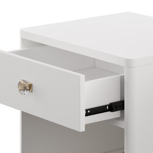 One Drawer Bookshelf Nightstand in White
