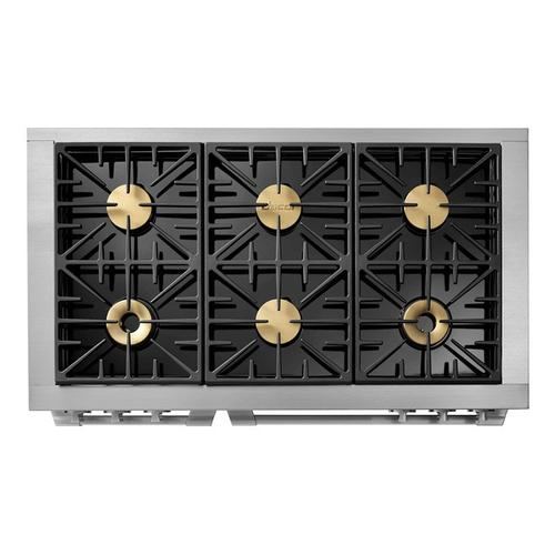 """48"""" Gas Pro Range, Silver Stainless Steel, Natural Gas"""