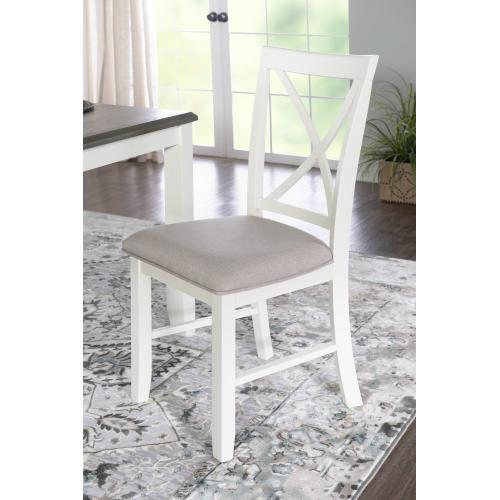 Upholstered Seat and X-back Side Chairs, Smokey White (set of 2)