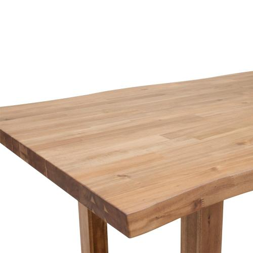"Windsor 79"" KD Live-Edge Dining Table Wooden Legs, Natural"