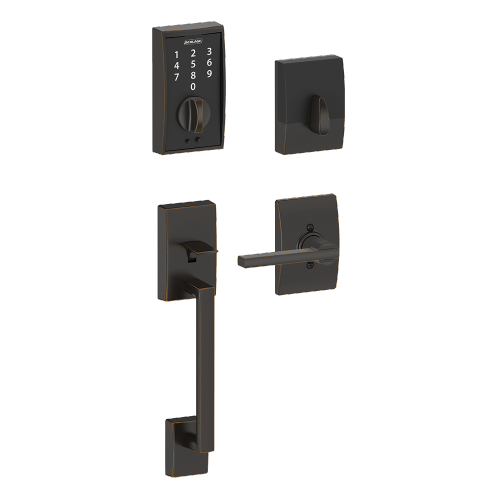 Schlage - Century Style Schlage Touch™ and Handleset with Latitude Lever - Aged Bronze