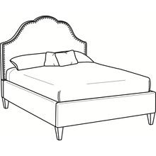 Mayfair King Upholstered Bed with Nailhead + Tapered Leg