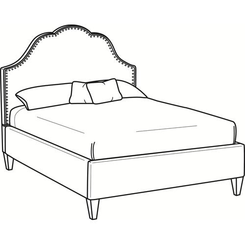 Mayfair Queen Upholstered Bed with Nailhead + Tapered Leg