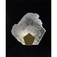 Moonlight Sonata: Selenite Pane Single-Light Wall Sconce in Antique Brass Finish