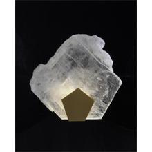 See Details - Moonlight Sonata: Selenite Pane Single-Light Wall Sconce in Antique Brass Finish