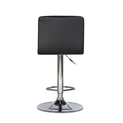 Quilted Faux Leather Seat Adjustable Height Barstool, Black and Chrome Steel