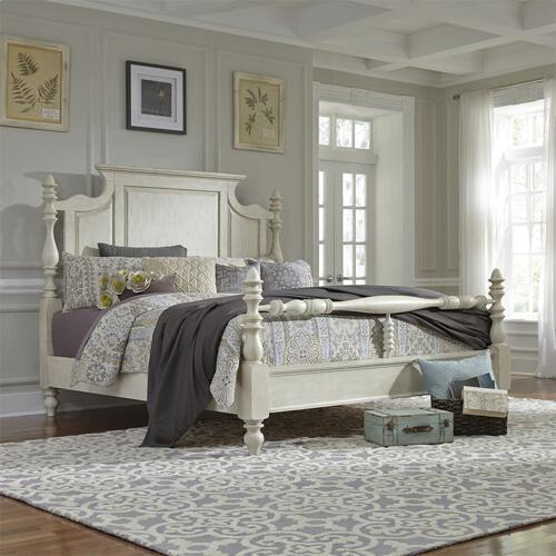 Queen Poster Bed, Dresser & Mirror, Night Stand