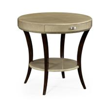 Art Deco Round Side Table with Drawer and Stainless Steel Handle