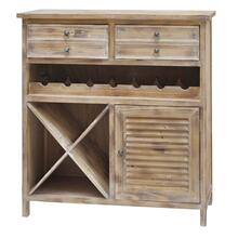 Jackson 2 Drawer Weathered Oak Wine Cabinet