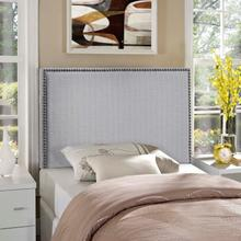 View Product - Region Nailhead Twin Upholstered Headboard in Sky Gray