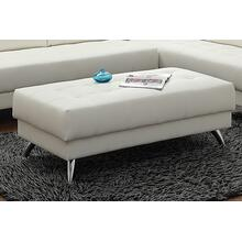 Agni XL Cocktail Ottoman, White-leatherette