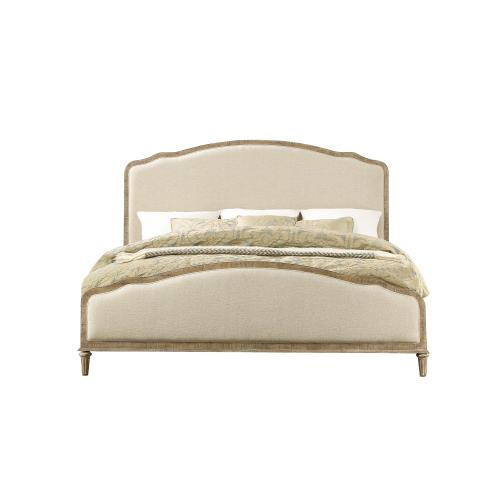 Emerald Home Interlude King Upholstered Rails and Slats White Linen B560-14r-05