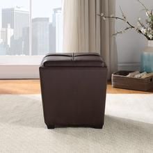 Rockford Storage Ottoman In Cocoa Faux Leather