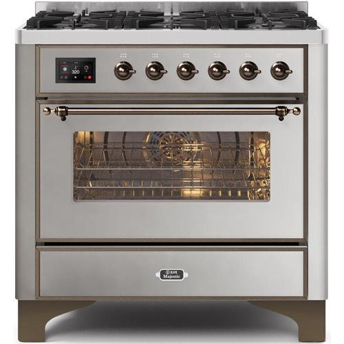 Ilve - Majestic II 36 Inch Dual Fuel Natural Gas Freestanding Range in Stainless Steel with Bronze Trim