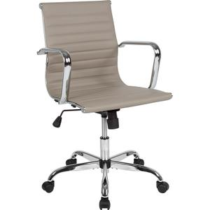 Mid-Back Tan LeatherSoft Mid-Century Modern Ribbed Swivel Office Chair with Spring-Tilt Control and Arms