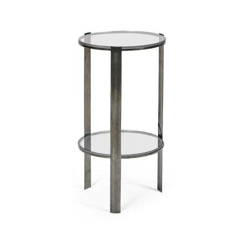 Small Circular Black Nickel Side Table with Clear Glass
