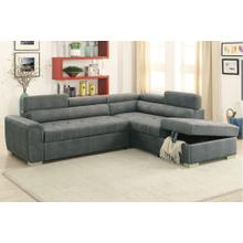 Grey Convertible Sectional with Storage and Pull Out Bed